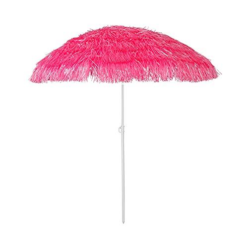 Mojawo Hawaii Strandschirm Sonnenschirm Strand Schirm Sonnenschutz Gartenschirm Bastschirm Sonnenschutz knickbar Polyester Pink Ø1,6m