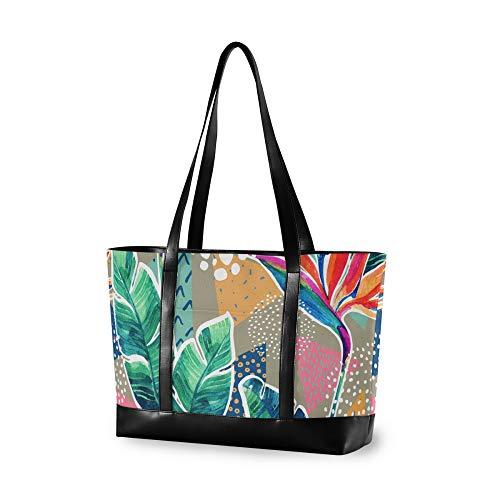 VALLER Women's Canvas Bag Laptop Shoulder Bag Watercolor Flowers Graffiti New Printed Design Laptop Bag Multicolor 14.65.111.8in