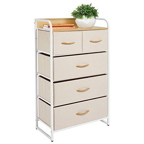 mDesign Cómoda para dormitorio con 5 cajones – Mueble con cajones alto para el salón, la habitación o el pasillo – Cajonera de metal, MDF y tela para guardar ropa – marrón