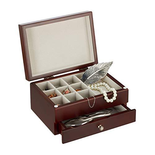 Relaxdays Schmuckkästchen klein mit Spiegel, Schmuckschatulle Holz, Aufbewahrung, Schmuckbox HBT 10x18,5x13 cm, braun