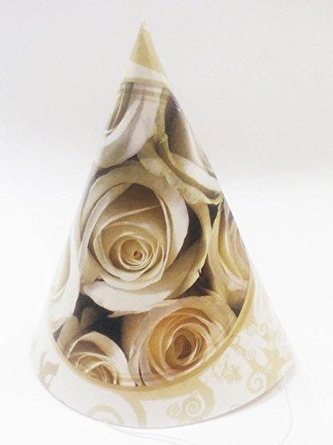 takestop® Set 72 stuks hoed papier cono feest roos wit cap monouse huwelijk bruiloft PROMESSA verjaardag Anniversary
