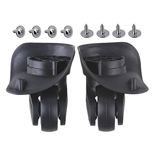 BQLZR Negro 9.6x9.3x4.8cm DIY Plastic Izquierda y derecha giratoria de equipaje maleta rueda ruedas con 4 agujeros