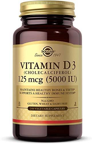 Solgar Vitamin D3 Cholecalciferol 125 mcg 5000 IU Vegetable Capsules  240 Count