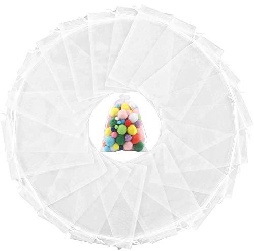 60 Piezas Bolsas de Organza Blanco, Bolsas de Regalo de Orga