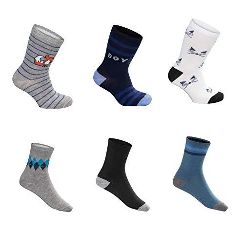 SG-WEAR 12 pares de calcetines para niños para Chico con un alto contenido de algodón Calcetines de deporte coloridos en varios motivos/medias en tallas 23-26, 27-30, 31-34, 35-38 / (Motiv 2, 35-38)