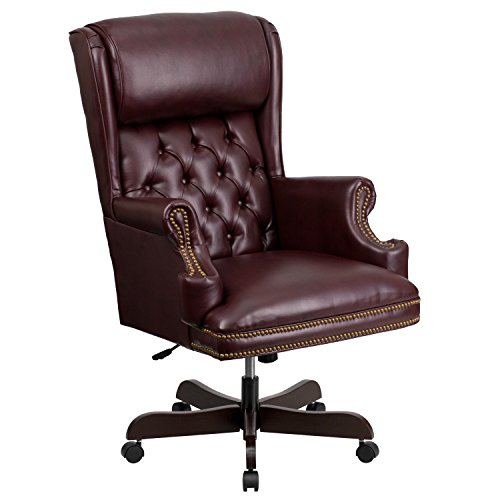 Flash Furniture High Back Traditional Tufted Burgundy LeatherSoft Executive Ergonomic Office Chair with Oversized Headrest & Arms
