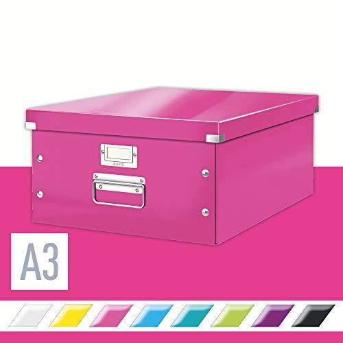 Leitz, Große Aufbewahrungs- und Transportbox, Pink, Mit Deckel, Für A3, Click & Store, 60450023