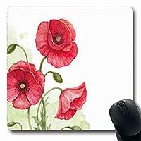 長方形のマウスパッドスケッチ水彩ポピー古い花自然植物長方形7.9 X 9.5インチ滑り止めラバーマウスパッドゲーミングマウスパッド