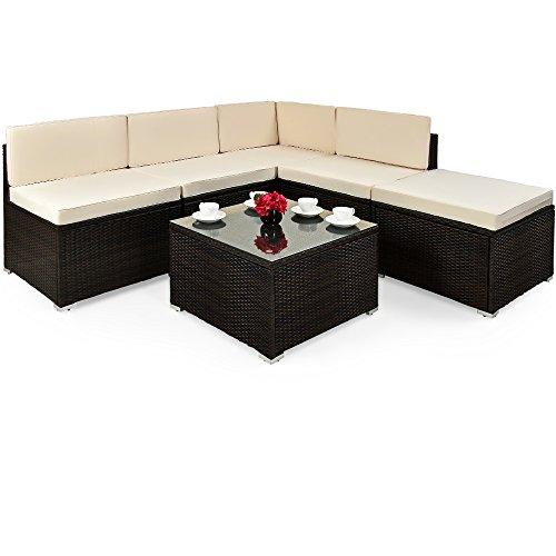 Deuba XXL Poly Rattan Lounge Set Braun 7cm Dicke Auflagen Tisch Sicherheitsglas Sitzgruppe Gartenmöbel Garten Ecksofa