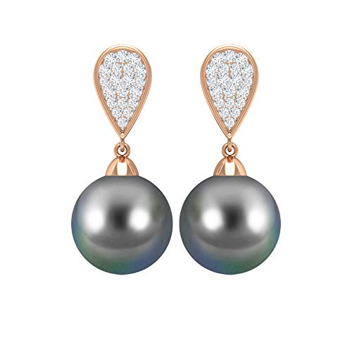 Rosec Jewels 14 quilates oro rosa redonda round-brilliant-shape H-I Black Diamond Perla de Tahití