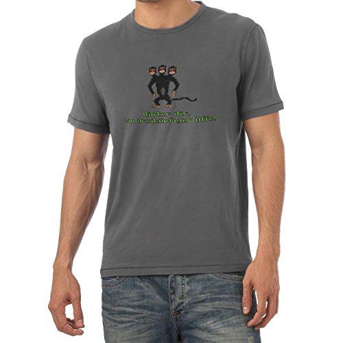 NERDO - Dreiköpfiger AFFE - Herren T-Shirt, Größe M, grau