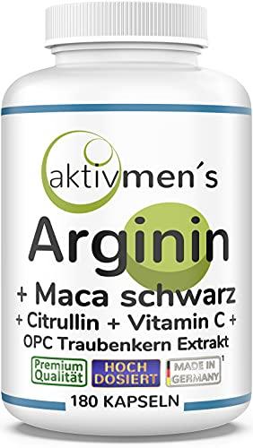 aktivmen´s ARGININ + MACA SCHWARZ hochdosiert + von Experten* geprüft, 180 Kapseln L-Arginin AKG + L-Citrullin Malat, Maca Wurzel Extrakt 10:1, OPC Traubenkern Extrakt, Vitamin C - 1 Dose (1x152,6g)