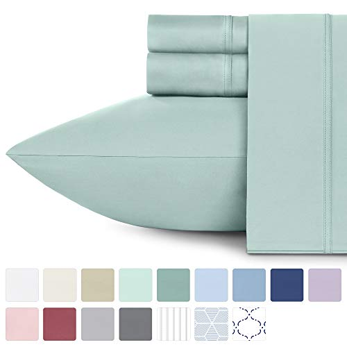 600 Thread Count Best Bed Sheets 100% Cotton Sheets Set - Spa Extra Long-staple Cotton Queen Sheet For Bed, Fits Mattress 16'' Deep Pocket, Soft & Silky Sateen Weave 4 Piece Sheets and Pillowcases