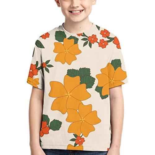 WoodWorths Vintage Floral Wallpaper Orange Teenager Junior Boys Girl Youth Short Sleeve T Shirt tee Colorful Shirts(XL,Black)