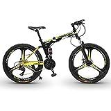 Bicicletas de Montaña Bicicleta De Montaña De Doble Suspensión De 26 Pulgadas Y 30 Velocidades,Bicicleta De Ciudad Todoterreno Plegable Para Adultos Con Doble Freno De Disco,Bici(Color:Amarillo negro)