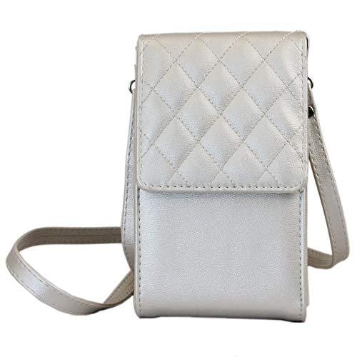 irisaa kleine Damen Umhängetasche Schultertasche - Crossbody Handtasche Geldbörse Handy Mini-Tasche Brieftasche mit Verstellbarem Schultergurt, Elegant Karo, Damen Tasche:Silber