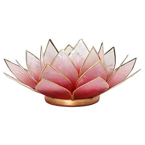 Lotus Teelicht-Kerzenhalter aus Capiz-Muschel Rot