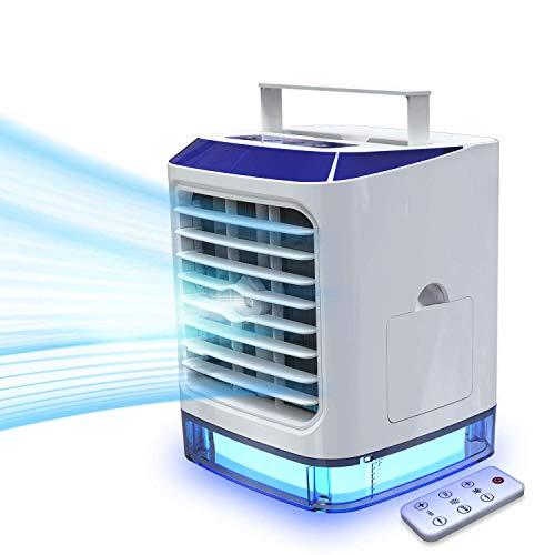 LAZCOZY mini Ventilador Humidificador Purificador Aire Acondicionado portátil de [Vhool-EU] USB Air Cooler con 3 Velocidades y 7 Colores Luz