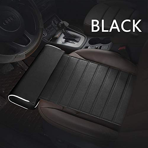 Per Universal Car Seat Cushion with Comfortable Leg Support Pu Leather Seat Cover for Car Office Home-Black