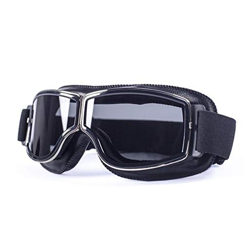 Gaodpz Vintage de la Motocicleta Universal Gafas de piloto de Motos Vespa del Motorista de Steampunk Gafas Anteojos for Casco (Color : Smoke Lens)