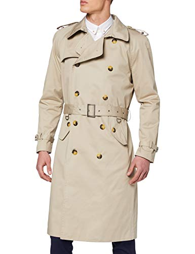Mens Beige Stone Traditional Double Breasted Long Trench Coat Cotton Military Rain Mac (50)