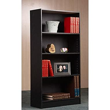 Orion Bookcase, Multiple Finishes by BLOSSOMZ (Black, 4-Shelf)