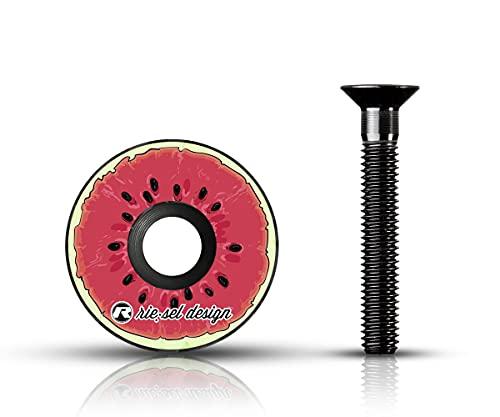 Riesel Design - Stem Cap 1x Ahead Kappe inkl. Aluminium Schraube für Rennrad, Cyclocrosser & Mountainbike/Stylische Vorbau- & Steuersatz Kappe für Gabelschäfte mit 1 1/8'' - Melon