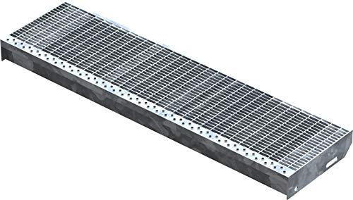 Fenau | Gitterrost-Stufe (R11) XSL – Maße: 1000 x 270 mm - MW: 30 mm / 10 mm - Vollbad-Feuerverzinkt – Stahl-Treppenstufe nach DIN-Norm | Fluchttreppen geeignet/Anti-Rutsch-Wirkung