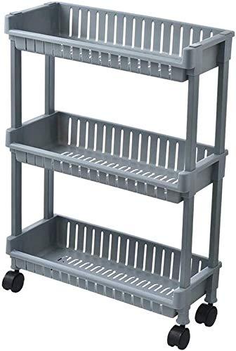 H.ZHOU Carrito de gran capacidad Ruedas de fácil deslizamiento y 4 estantes pesados Portátiles Portable Slim Plástico Rolling Lavandería Cart Carret Organizer Trolley para la oficina Cocina Baño Car