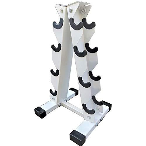 Hantelablage mit 4 Schichten, Aufbewahrungsregal mit einer Box von Gewicht, Metallstahl Heimübung, Heimgymnastik, tägliche Übung, weiß, 4 Ebenen
