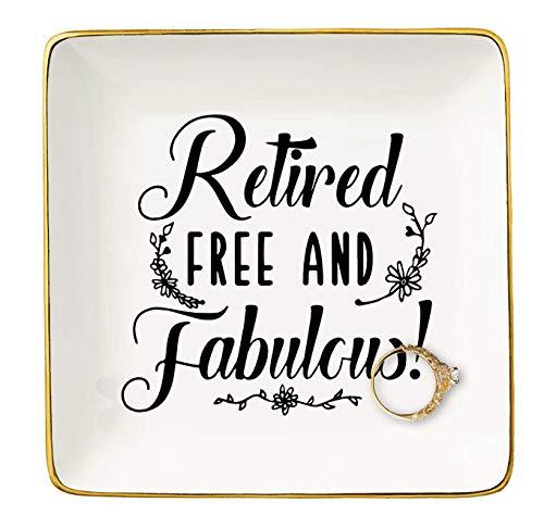 Jubilado gratis y fabuloso regalo de jubilación para abuela, mamá, maestras, enfermeras, compañeras de trabajo, jefe, hermana, amigos, BFF, plato decorativo de cerámica para anillos