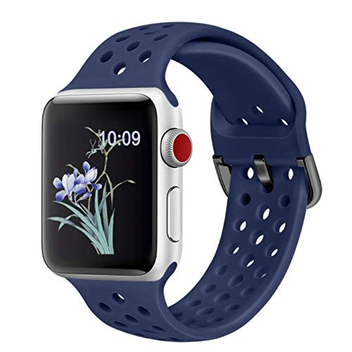 Para Apple Watch SE 6 4 5 40mm 44mm Correa transpirable deportiva de silicona suave para iWatch Series 5 4 3 2 1 38MM 42MM