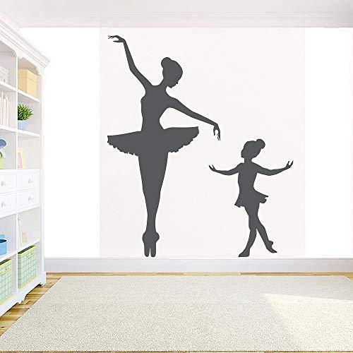 Gran bailarina pequeña bailarina vinilo pegatinas de pared Ballet aula dormitorio gimnasio decoración