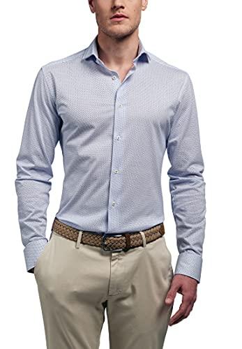eterna Langarm Hemd Slim Fit Jersey Bedruckt