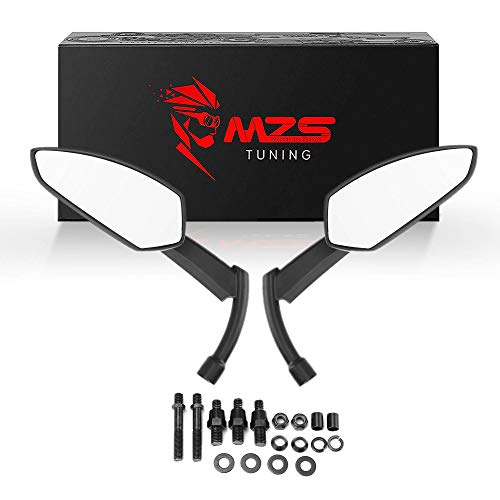 MZS Motorcycle Mirrors Black Rear View Side Mirror 360 Degree Adjustment Blade Compatible with Touring Cruiser Spostster Bobber Chopper Cafe Racer Tracker Street Naked Road Bike