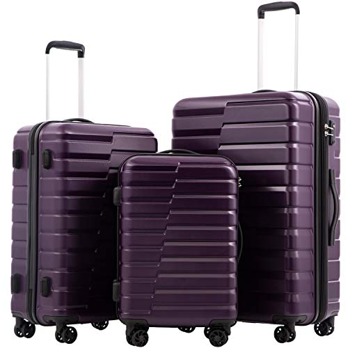 COOLIFE Luggage Expandable Suitcase PC+ABS 3 Piece Set with TSA Lock Spinner Carry on new fashion design (purple, 3 piece set)