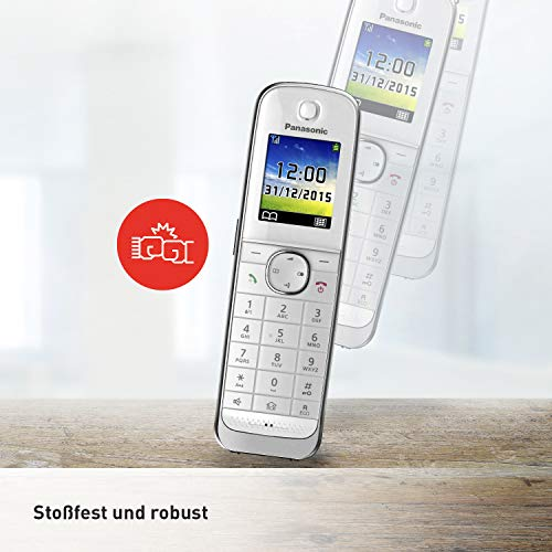 Panasonic KX-TGJ310GW Familien-Telefon ohne Anrufbeantworter (schnurloses Telefon, strahlungsarm, Anrufschutz, DECT Basisstation, Freisprechen) weiß