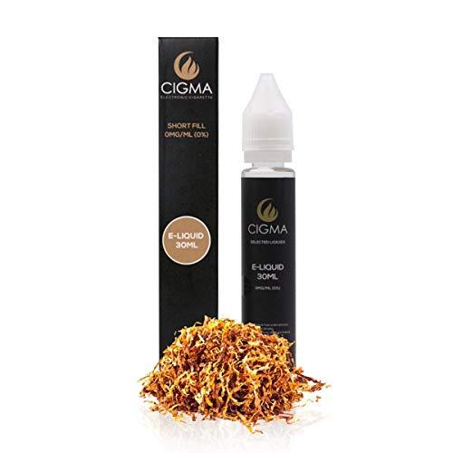 CIGMA Gold Tabak 30ml E Liquid 0mg, Neue Shortfill Flaschen, Premium Qualitätsformel nur mit hochwertigen Zutaten, Hergestellt für elektronische Zigarette und E Shisha, E flüssig
