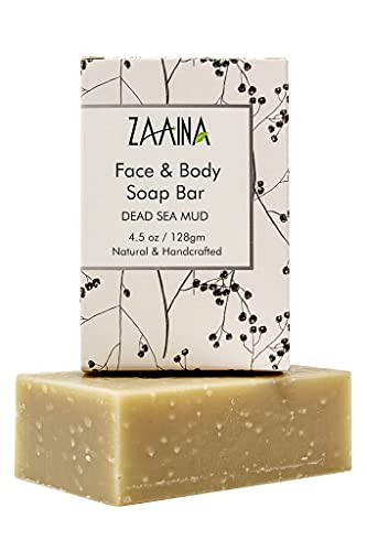 Dead Sea Mud Soap Bar 100% Organic & Natural. With Activated Charcoal & Therapeutic Grade Essential Oils. Face or Body Soap for Men, Women & Teens. Non Toxic   Made in USA by ZAAINA   4.5 oz