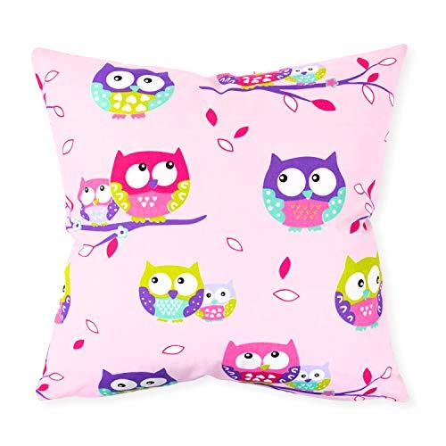 Cojín decorativo rosa Funda de almohada 40 cm x 40 cm de búho
