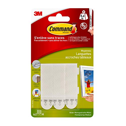 Command Medium Picture Hanging Strips, 17201 4pk (1 Pack of 4 Sets)( 4x2)