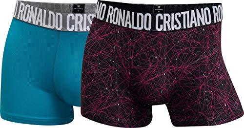 CR7 Cristiano Ronaldo - Fashion - Boxershorts aus Microfaser - Herren - 2-Pack - Türkis/Schwarz (426) - Grösse M (CR7-8502-4900-426-M)