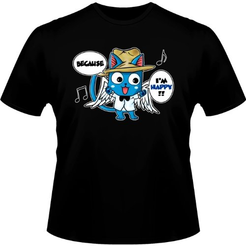 OKIWOKI T-Shirt Noir Fairy Tail parodique Happy : Happy Williams : (Parodie Fairy Tail)