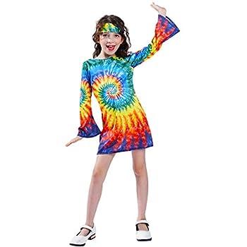 Girl s Hippie Dress Children 60s 70s Flower Power Costumes  L