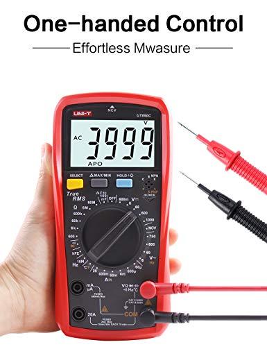 UNI-T UT890C Multímetro Digital Profesional Tester Voltímetro Amperímetro Ohmímetro True RMS 6000 Cuentas Polimetro Prueba de Capacitancia y Medición de Temperatura con LCD Retroiluminada