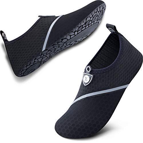 SIMARI Water Shoes for Women Men Anti Slip Summer Outdoor Beach Swim Snorkeling SWS002 512 Black Black