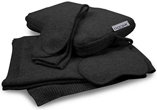 Jet&Bo 100% Pure Cashmere Travel Set: Blanket, Eye Mask, Socks, Carry/Pillow Case Black