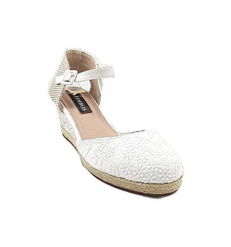 Timbos Zapatos - 122000 Cuña Novia Esparto, para Mujer, Color Blanco, Material...