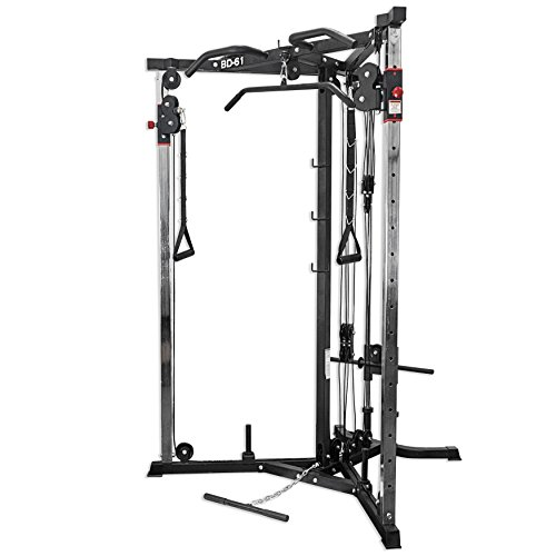 Valor Fitness BD-61 Cable Crossover Station with LAT Pull, Row Bar, and Multi-Grip Pull-Up Station