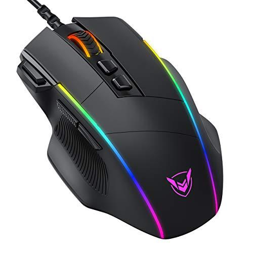 PICTEK Ratón Gaming, Ratón RGB Ergonómico de 8000 dpi (5